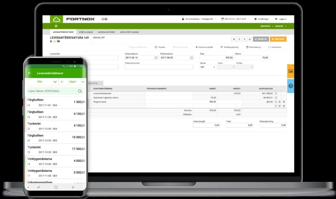 Fortnox - leverantösfakturor och attest på webben och i mobilen